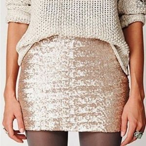 NWT $49 Gap Women's Gold Sequin Mini Skirt